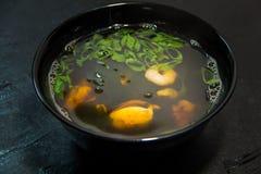 Japończyk lub owoce morza posiłek Koreański lub Chiński zupa kluski Garnela Obraz Stock