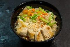 Japończyk lub owoce morza posiłek Koreański lub Chiński zupa kluski Garnela Obraz Royalty Free