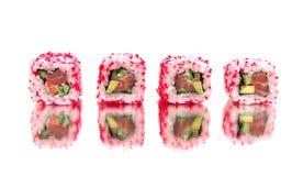 Japończyk rolki z lustrzanym odbiciem Biały tło Obrazy Royalty Free