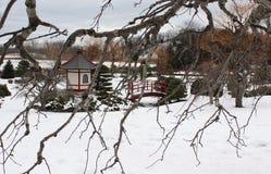 Japończyka ogród w śniegu obraz stock