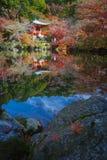Japończyka ogród w jesień sezonie przy światowego dziedzictwa Daigoji świątynią obraz royalty free