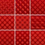 japończyka tradycyjny deseniowy czerwony Zdjęcia Stock
