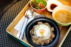 Japońscy ryż i jajko onsen Obraz Stock