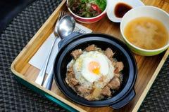 Japońscy ryż i jajko onsen Zdjęcia Stock