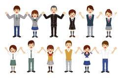 Japońscy szkoła średnia ucznie ustawiają - mienie ręki, lato moda royalty ilustracja