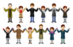 Japońscy szkoła średnia ucznie ustawiają - mienie ręki, zimy moda royalty ilustracja