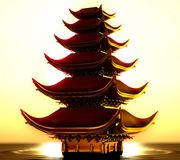 Japońska świątynia na wodzie, z złotymi odbiciami ilustracji