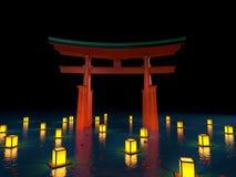 Japońska brama w wodzie z lampionami przy nocą Obrazy Royalty Free