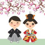 Japońska chłopiec dziewczyna w krajowym kostiumowym kimonie, kreskówek dzieci w tradycyjnej sukni Sakura kwiatów okwitnięcia menc royalty ilustracja