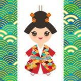 Japońska dziewczyna w krajowym kostiumu kimono, kreskówek dzieci w tradycyjnej sukni Japonia fali okręgu wzoru pomarańcze zieleni ilustracji