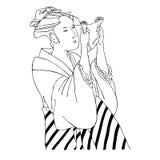Japońska dziewczyna z ślimacznicą Obrazy Royalty Free