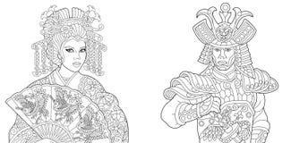 Japońska gejsza i samurajowie z kataną royalty ilustracja