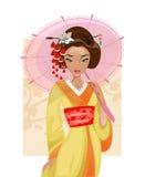 Japońska gejsza również zwrócić corel ilustracji wektora Zdjęcia Royalty Free