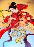 Japońska gejszy kobieta w czerwonym kimonie, sztuka obraz olejny ilustracja wektor