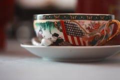 Japońska herbaciana filiżanka marmur obraz stock