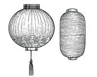 Japońska papierowego lampionu ilustracja, rysunek, rytownictwo, atrament, kreskowa sztuka, wektorowy lampion, Japan, japończyk, ilustracja wektor