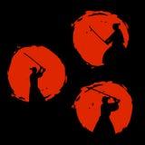 Japońska samurajów wojowników sylwetka również zwrócić corel ilustracji wektora ilustracja wektor
