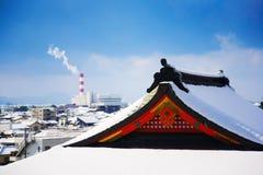japońska sceny świątyni zima Fotografia Stock