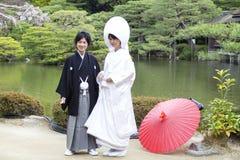 Japońska tradycyjna ślubna suknia Zdjęcie Royalty Free
