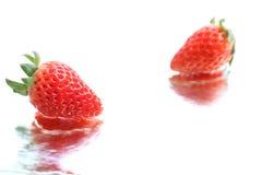 Japońska truskawka na białej wody tle Obraz Royalty Free