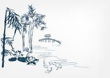 Japońska wektoru krajobrazu tła chińczyka karty rzeka ilustracji