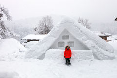 Japońska wioska przy zimą Obrazy Stock