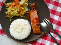 Japoński łososiowy teriyaki z ryż Zdjęcie Stock