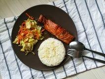 Japoński łososiowy teriyaki z ryż Fotografia Royalty Free