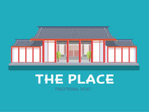 Japoński architektura dom w płaskim projekta tła pojęciu Japonia dojo tradycyjny miejsce Ikony dla twój produktu lub Zdjęcie Royalty Free