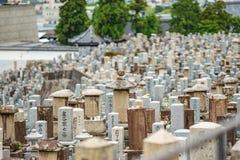 Japoński cmentarz z wiele grób naśladuje miasto budynki n02 zdjęcia stock