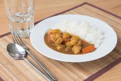 Japoński curry z ryż na stołowym przygotowywającym serw Zdjęcia Royalty Free