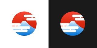 Japoński czerwony logo z Fuji górą i Japonia słońcem - wektorowy circ ilustracja wektor