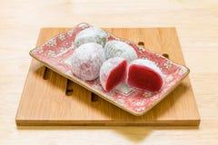Japoński Deserowy tło, Japoński deser, Japoński deser na Drewnianym tle/ Fotografia Royalty Free