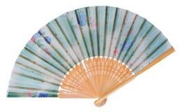 Japoński fan dekorujący z kwiatami i gwiazdami w błękicie, zieleń Obraz Royalty Free