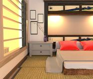 Japoński Izbowy wnętrze, Łóżkowy izbowy projekt ?wiadczenia 3 d ilustracji