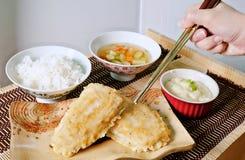 Japoński jedzenie, Japońska kuchnia, lunch, łowi smażącego ustalonego menu Zdjęcie Royalty Free