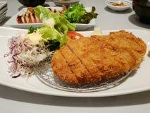 Japoński jedzenie styl, Odgórny widok pokrojony wieprzowiny Cutlet z jarzynową sałatką zdjęcia stock