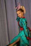 Japoński ludowy taniec przy turniejowym życiem w tanu w miasteczku Kondrovo, Kaluga region w Rosja w 2016 Fotografia Royalty Free