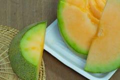 Japoński melonowy obruszenie owoc tło Zdjęcie Stock