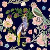 japoński ogród ptaków kwiaty ustawiający majcherów wektor Zdjęcie Stock