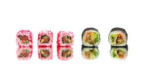Japoński suszi i rolki odizolowywający na białym tle Obraz Royalty Free