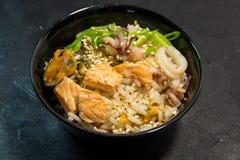 Japoński, Tajlandzki lub Koreański owoce morza posiłek kluski Zdjęcia Royalty Free