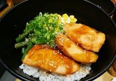 Japoński teriyaki łosoś z ryż Obrazy Stock