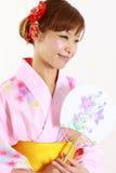 Japoński yukata z papierowym fan Zdjęcie Royalty Free