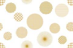 Japoński złoty druk Bezszwowy wektoru wzór z różnymi geometrycznymi kształtami Zdjęcia Royalty Free