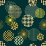 Japoński złoty druk Bezszwowy wektoru wzór z różnymi geometrycznymi kształtami Fotografia Stock