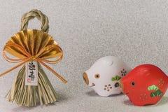 Japońskie nowy rok karty z czarnymi handwriting ideogramami Geish obraz stock