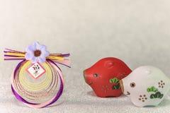 Japońskie nowy rok karty z czarnymi handwriting ideogramami Geish obrazy stock