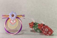 Japońskie nowy rok karty z handwriting ideogramów Geishun whi zdjęcia stock