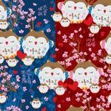 Japońskie szczęsliwe sów menchie kochają Sakura bezszwowego wzór Zdjęcia Stock